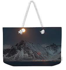 Moon And Mountains In Lofoten Weekender Tote Bag