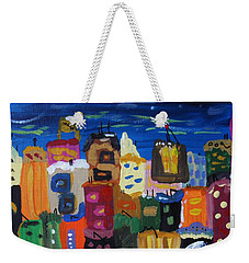 Weekender Tote Bag featuring the painting Moon And Sea Waves by Mary Carol Williams