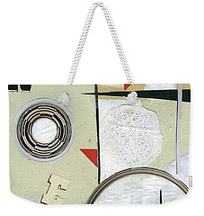 Weekender Tote Bag featuring the painting Moon And Stars In Space by Michal Mitak Mahgerefteh