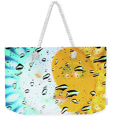 Weekender Tote Bag featuring the photograph Moon And Sun Rainy Day Windowpane by D Davila