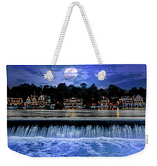 Weekender Tote Bag featuring the photograph Moon Light - Boathouse Row Philadelphia by Bill Cannon