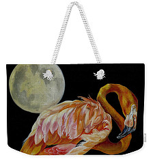 Moon Over Mississippi A Flamingos Perspective Weekender Tote Bag by Phyllis Beiser