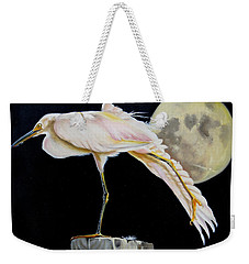 Moon Over Mississippi A Snowy Egrets Perspective Weekender Tote Bag by Phyllis Beiser