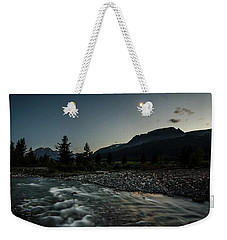 Weekender Tote Bag featuring the photograph Moon Over Montana by Margaret Pitcher