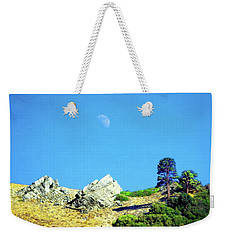 Weekender Tote Bag featuring the photograph Moon Over Ray's Perch by Timothy Bulone