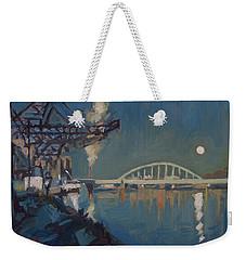 Moon Over The Railway Bridge Maastricht Weekender Tote Bag