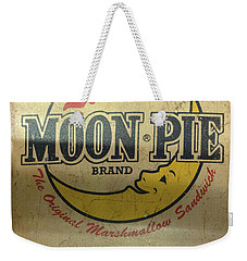 Weekender Tote Bag featuring the photograph Moon Pie Antique Sign by Chris Flees