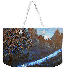 Weekender Tote Bag featuring the mixed media Moon Rise  by Angela Stout