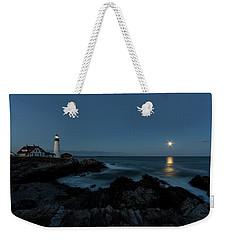 Moon Rise At Portland Headlight Weekender Tote Bag