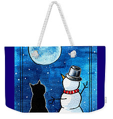 Moon Watching With Snowman - Christmas Cat Weekender Tote Bag