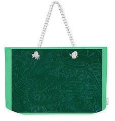 Moonfish Drawing Negative Green Chalk Weekender Tote Bag