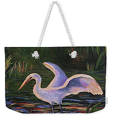 Moonlight Egret Weekender Tote Bag