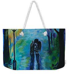 Weekender Tote Bag featuring the painting Moonlight Kiss by Leslie Allen