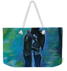 Weekender Tote Bag featuring the painting Moonlight Kiss Series 1 by Leslie Allen