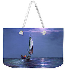 Moonlight Sailing Weekender Tote Bag by David  Van Hulst