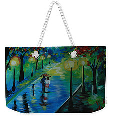 Weekender Tote Bag featuring the painting Moonlight Stroll by Leslie Allen