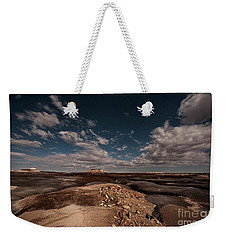 Weekender Tote Bag featuring the photograph Moonlit Badlands by Melany Sarafis