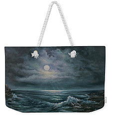Weekender Tote Bag featuring the painting Moonlit Seascape by Katalin Luczay