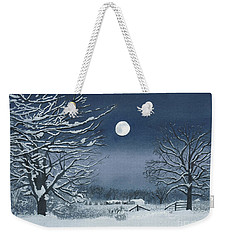 Moonlit Snowy Scene On The Farm Weekender Tote Bag