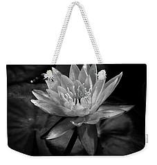 Moonlit Water Lily Bw Weekender Tote Bag