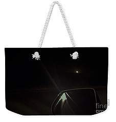Weekender Tote Bag featuring the photograph Moonrise On The Back Road by Angela J Wright