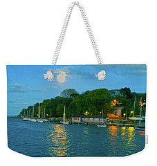 Weekender Tote Bag featuring the photograph Moonrise Over Nothe Fort by Anne Kotan