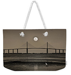 Moonrise Over Skyway Bridge Weekender Tote Bag by Steven Sparks