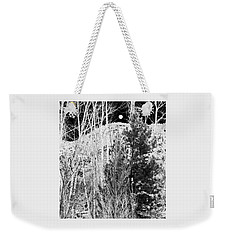 Weekender Tote Bag featuring the digital art Moonrise Over The Mountain by Will Borden