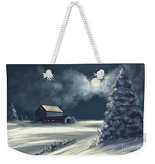 Weekender Tote Bag featuring the digital art Moonshine On The Snow by Lois Bryan