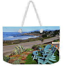 Weekender Tote Bag featuring the photograph Moonstone Beach Seat With A View by Barbara Snyder