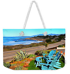 Weekender Tote Bag featuring the photograph Moonstone Beach Seat With A View Digital Painting by Barbara Snyder
