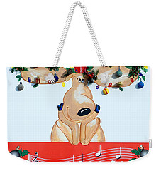 Moose Christmas Greeting Weekender Tote Bag