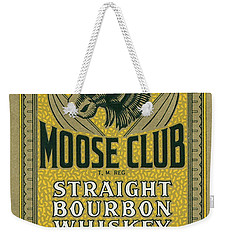 Weekender Tote Bag featuring the photograph Moose Club Bourbon Label by Tom Mc Nemar