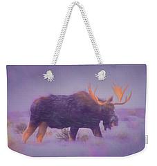 Moose In A Blizzard Weekender Tote Bag