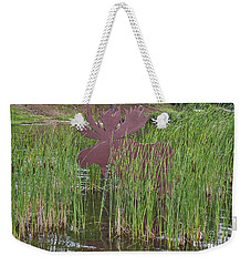 Weekender Tote Bag featuring the photograph Moose In Bulrushes by Sue Smith