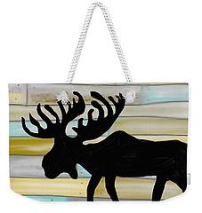 Weekender Tote Bag featuring the digital art Moose by Paula Brown