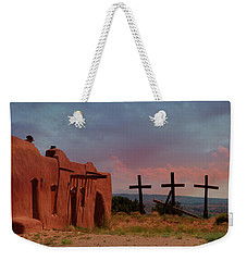 Weekender Tote Bag featuring the photograph Morada Three Crosses by Carolyn Dalessandro