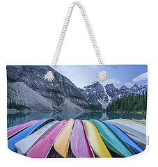 Moraine Lake Colors Weekender Tote Bag by Alpha Wanderlust