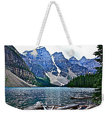 Moraine Lake In Color Weekender Tote Bag by Linda Bianic