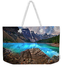 Weekender Tote Bag featuring the photograph Moraine Lake by John Poon