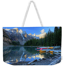 Moraine Lake Sunrise Blue Skies Canoes Weekender Tote Bag