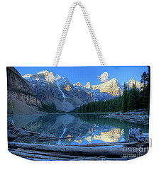 Moraine Lake Sunrise Blue Skies Logs Weekender Tote Bag
