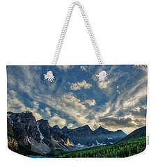 Moraine Lake Sunset - Golden Rays Weekender Tote Bag