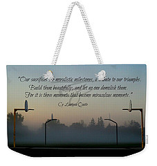Weekender Tote Bag featuring the photograph Moral Milestones by Cyryn Fyrcyd