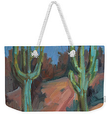 Weekender Tote Bag featuring the painting Morning At Fort Apache by Diane McClary