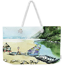 Weekender Tote Bag featuring the painting Morning At Porto Novo Beach by Dora Hathazi Mendes