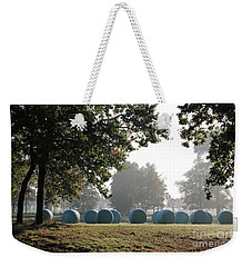 Morning At The Countryside With Bales Of Hay In Autumn Weekender Tote Bag