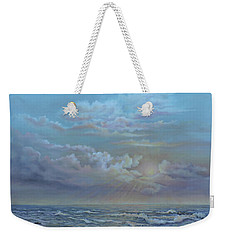 Weekender Tote Bag featuring the painting Morning At The Ocean by Katalin Luczay