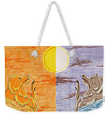 Morning Bear Greets The Sun, Evening Bear Greets The Moon Weekender Tote Bag