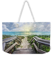 Weekender Tote Bag featuring the photograph Morning Blues At The Dune by Debra and Dave Vanderlaan